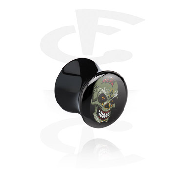 Tunnels & Plugs, Black Double Flared Plug with Skull Design, Acrylic
