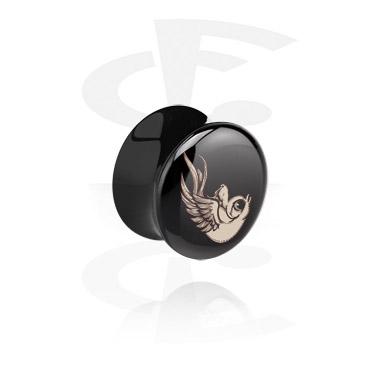 Flared plug nero con uccellino