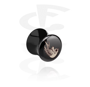 Tunnels & Plugs, Black Double Flared Plug with Bird Design, Acrylic