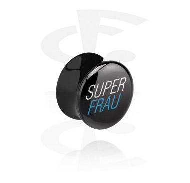 Tuneli & čepovi, Black Flared Plug, Acrylic