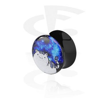 Flared Plug Glitter Preta