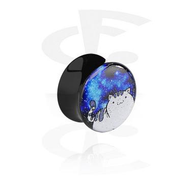 Zwarte glitter flared plug