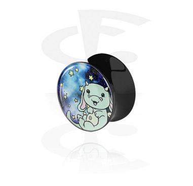 Black Glitter Flared Plug<br/>[Acrylic]