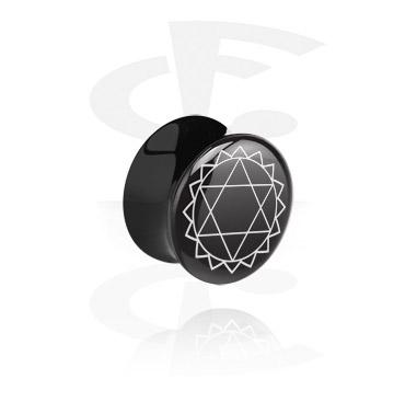 Tunele & plugi, Black Double Flared Plug, Acrylic