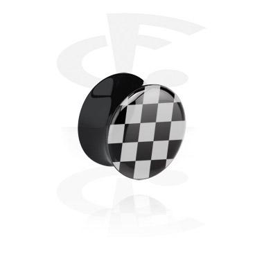 Черный плаг с принтом в виде шахматной доски