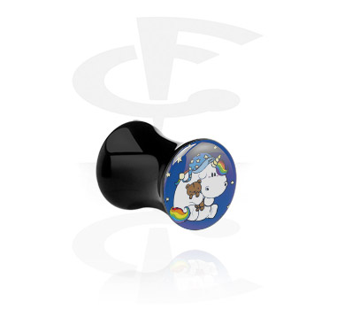 Tunnels & Plugs, Black Double Flared Plug with Crapwaer Design, Acrylic