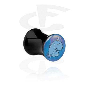 Tunnels & Plugs, Black Double Flared Plug with Crapwaer Design, Acrylic