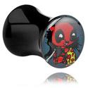 Tunnels & Plugs, Plug double flared noir avec Motif Crapwaer , Acrylique