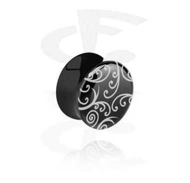 Flared plug noir avec ornements