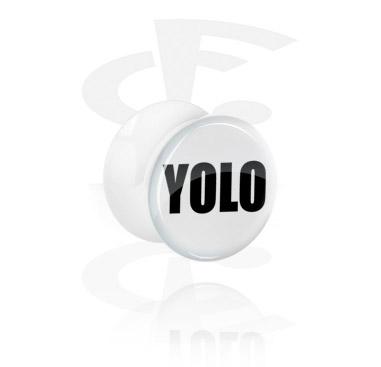 Tunnels & Plugs, White Flared Plug - YOLO, Acrylic