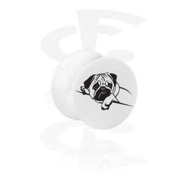 Tunely & plugy, Bílý plug s rozšířením na konci, Acrylic