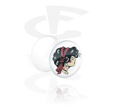 Tunnels & Plugs, White Double Flared Plug, Acrylic