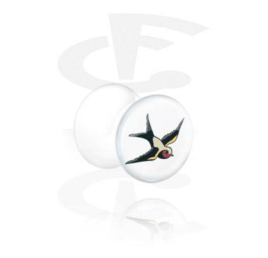 Tunnels & Plugs, White Double Flared Plug with Bird Design, Acrylic