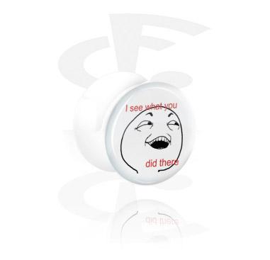 Tunele & plugi, White Flared Plug, Acrylic