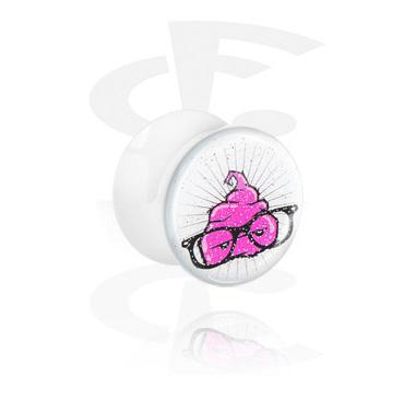 Tunele & plugi, White Glitter Flared Plug, Acrylic
