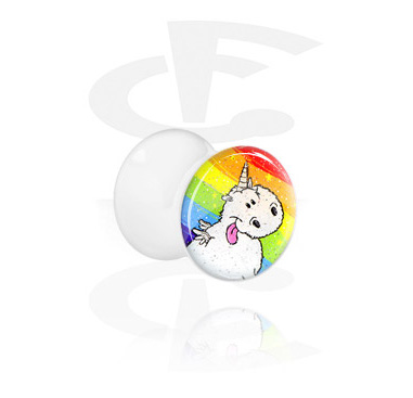 Tunnels & Plugs, White Double Flared Plug with Crapwaer Design, Acrylic