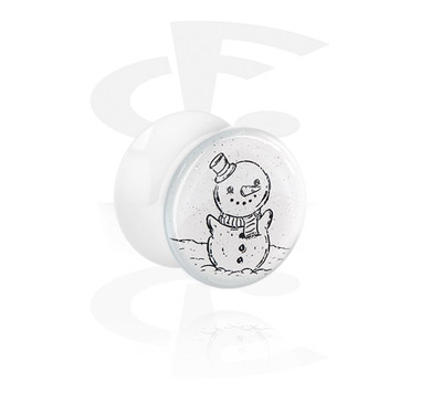 Tunnels & Plugs, White Double Flared Plug with Winter Snowman Design, Acrylic