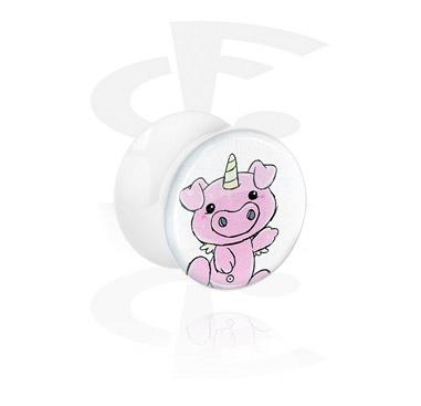 Tunele & plugi, White Glitter Flared Plug<br/>[Acrylic], Acrylic