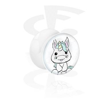 Tunely & plugy, White Glitter Flared Plug<br/>[Acrylic], Acrylic