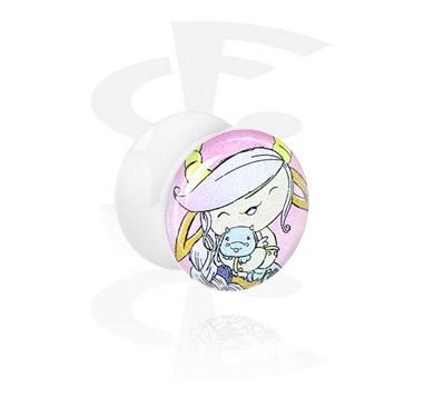 White Glitter Flared Plug<br/>[Acrylic]