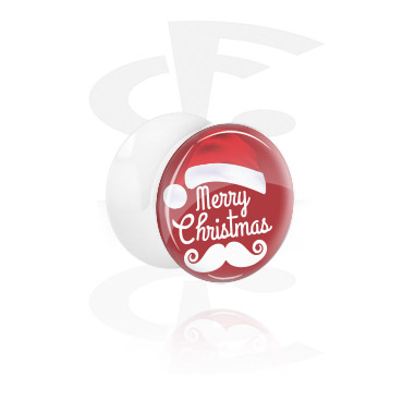 Tunnels & Plugs, White Double Flared Plug with MERRY X-MAS, Acrylic
