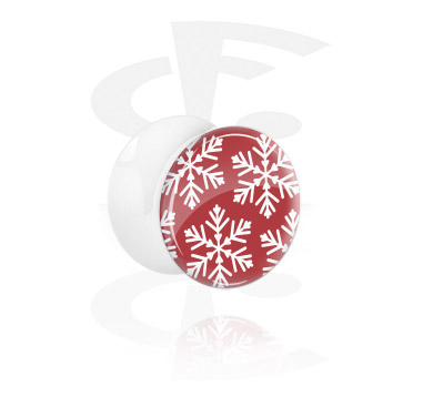 White Double Flared Plug with Winter Snowflake Design