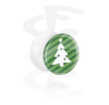 Tunele & plugi, White Double Flared Plug z Winter Christmas Tree Design, Acrylic