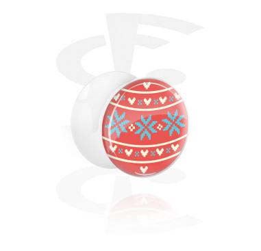 Tunele & plugi, White Double Flared Plug z Winter Christmas Knitting, Acrylic