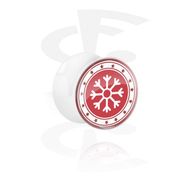 Tunele & plugi, White Double Flared Plug z Winter Snowflake Design, Acrylic