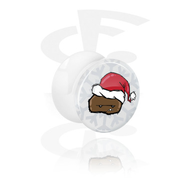 Tunnels & Plugs, White Double Flared Plug with Winter Crapwaer Design, Acrylic