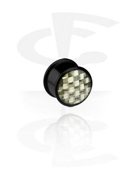 Tunnel & Plugs, Schwarzer Carbon Fiber Plug, Acryl