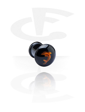 Tunnels & Plugs, Black Plug with 3D Design, Acryl