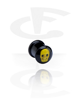 Tuneli & čepovi, Black Plug with 3D Design, Acryl