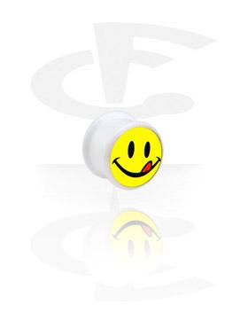 Tunele & plugi, Biały plug z logo, Acryl