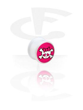 Tuneli & čepovi, Bijeli čep s logotipom, Acryl