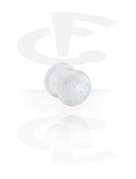 Tuneli & čepovi, White Glitterline Plug, Acryl
