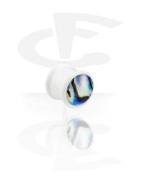 Tunele & plugi, Biały perłowy plug, Acryl