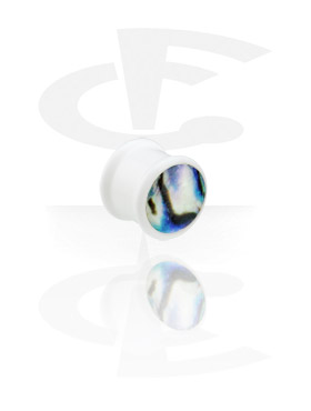 Tunnels & Plugs, White Mother of Pearl Plug, Acryl
