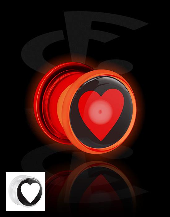 Tunnelit & plugit, LED Tunnel  kanssa Heart Design, Akryyli