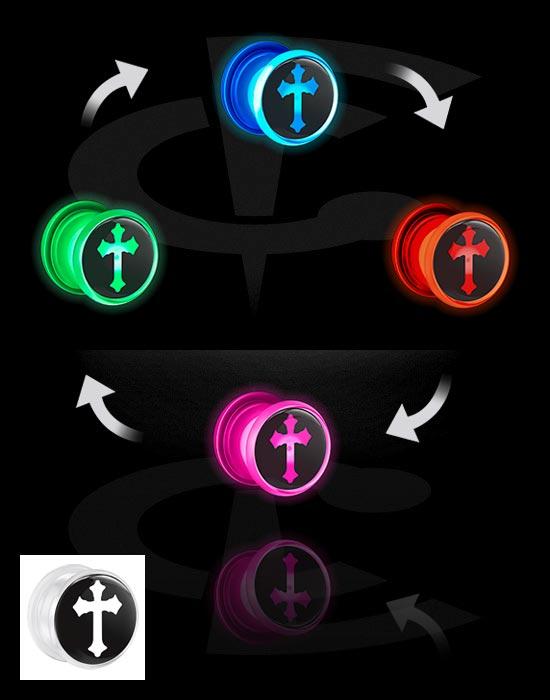 Tunnelit & plugit, LED Tunnel  kanssa cross design, Akryyli