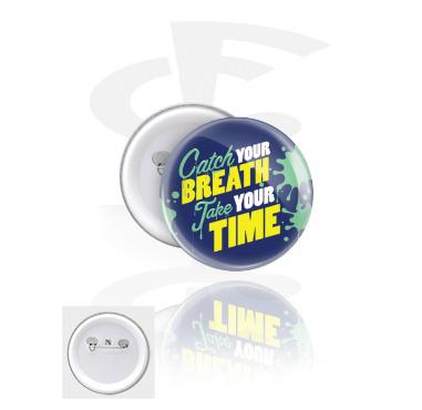 Buttons, Spilla, Latta stagnata,  Materiale sintetico