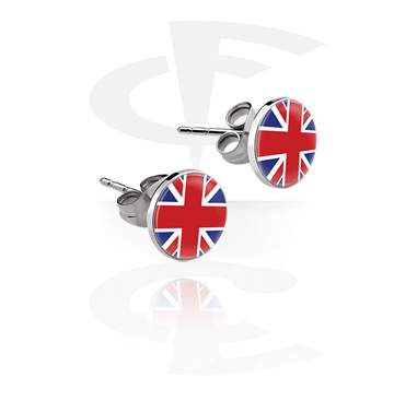 Earrings, Studs & Shields, Ear Studs with Picture, Surgical Steel 316L