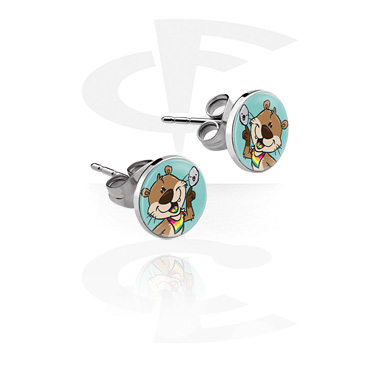 Earrings, Studs & Shields, Ear Studs with Crapwaer Design, Surgical Steel 316L