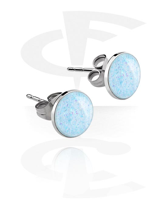 Náušnice, Ear Studs s Glitter Design, Chirurgická ocel 316L