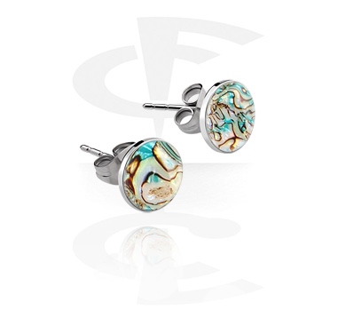 Earrings, Studs & Shields, Ear Studs with Mother Of Pearl Design, Surgical Steel 316L