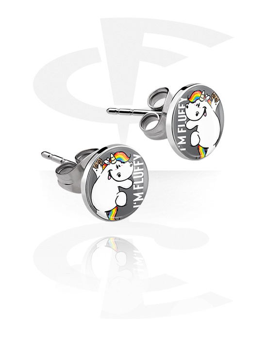 Náušnice, Ear Studs s Chubby Unicorn Design, Chirurgická ocel 316L