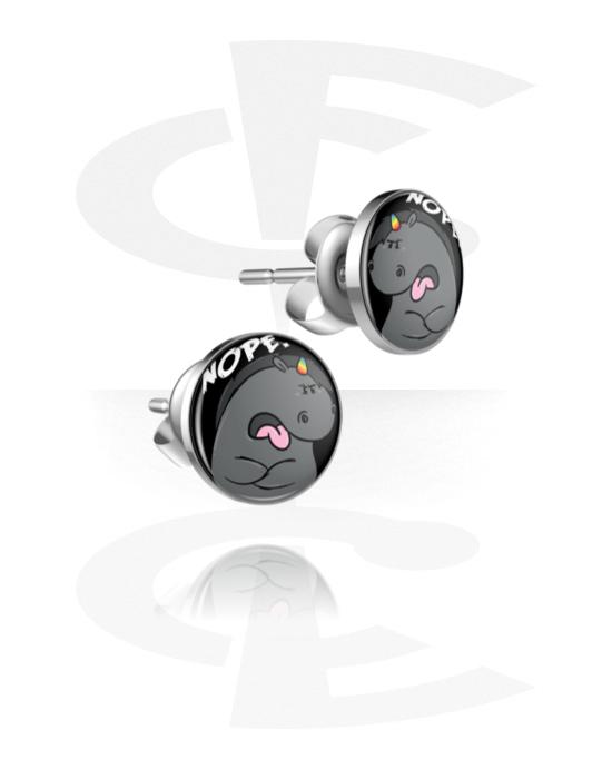 Korvakorut, Ear Studs kanssa Grumpy Unicorn Design, Kirurginteräs 316L