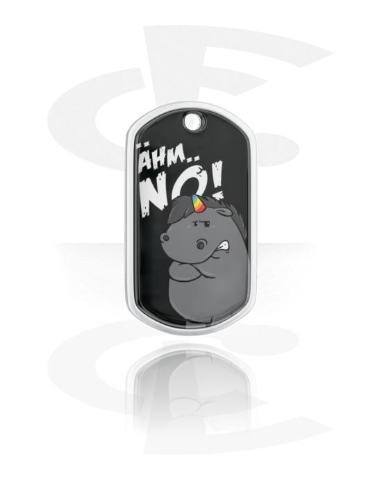 Dog Tags, Dog Tag met Grumpy Unicorn Design, Aluminium