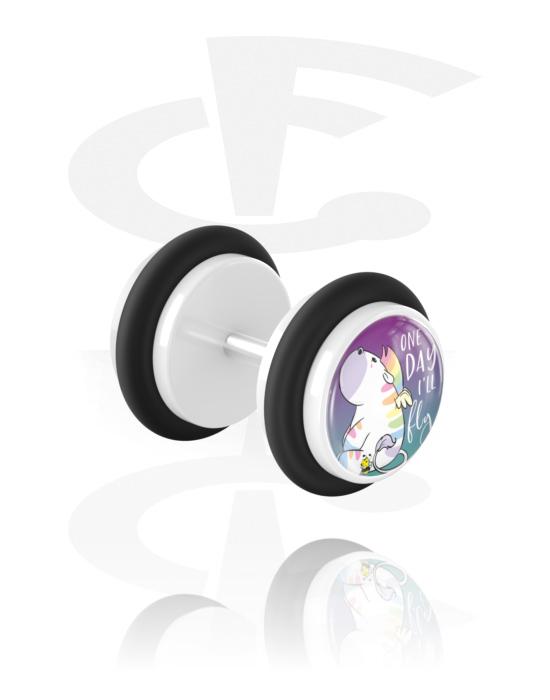 Falešné piercingové šperky, Fake plug s Chubby Unicorn Design, Akryl, Chirurgická ocel 316L
