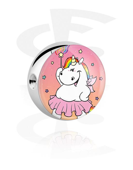 Kuličky, kolíčky a další, Kulička pro kroužek s kuličkovým uzávěrem s Chubby Unicorn Design, Chirurgická ocel 316L